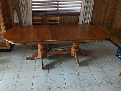 AU150 • Buy Timber Dining Table 8 Extends To 12 Seats Inc 8 Chairs