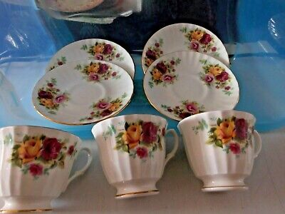 Royal Victorian Roses  Tea Cups And Saucers 3 Cups 4 Saucers  Bone  China • 8£