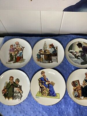 $ CDN23.92 • Buy Lot Of 6 Norman Rockwell 1984 Miniature Porcelain Collector Plates