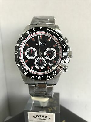 Rotary Mens Chronograph Black Dial Stainless Steel Bracelet Watch(GB03637/04) • 89.99£