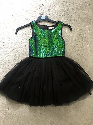 Bluezoo Girls Party Dress Black Green Sequins Age 6 • 5.99£