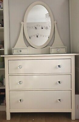 IKEA  Hemnes White, Glass Topped 3 Drawer Chest With Mirror • 80£