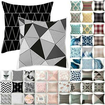 Geometric Black And Grey Bench Throw Pillow Case Cushion Cover Sofa Bedroom Deco • 6.49£