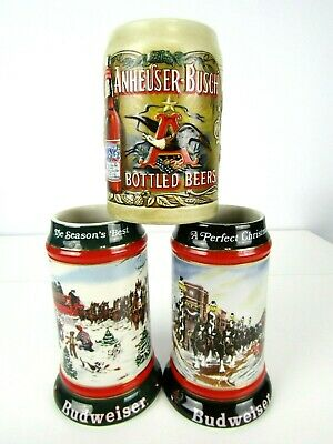 $ CDN31.23 • Buy Anheuser Busch Budweiser Holiday Christmas Beer Steins Clydesdales Lot Of 3