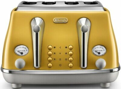 AU189 • Buy Delonghi Icona Capitals 4 Slice Bread Toaster Yellow NEW Electric Pop Up Toaster