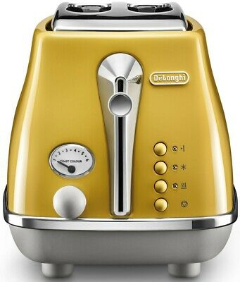 AU169 • Buy Delonghi Icona Capitals 2 Slice Bread Toaster Yellow NEW Electric Pop Up Toaster