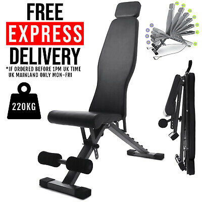 Adjustable Folding Weight Bench Dumbbell Exercise Fitness Sit Up Incline Chest • 79.95£