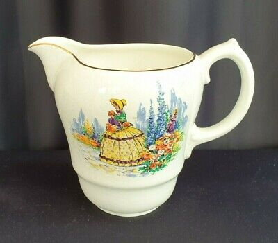 £12 • Buy Vintage Bovey Pottery Jug White With Gold Rim Victorian Lady In Garden Design