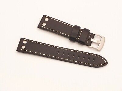 Genuine Leather Riveted Aviator Watch Strap 22mm Black By Geckota • 3.99£