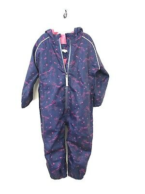 Splash Suit, 12-18 Months, Navy With Pink Unicorns, Lightweight Fleece Lining. • 8.50£