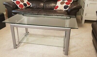 Large Glass Coffee Table With Chrome Legs • 29.99£