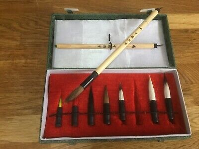 Boxed Set Of Chinese Paint Brushe, 8 Heads And 2 Screw On Handles In A Silk Box • 3£