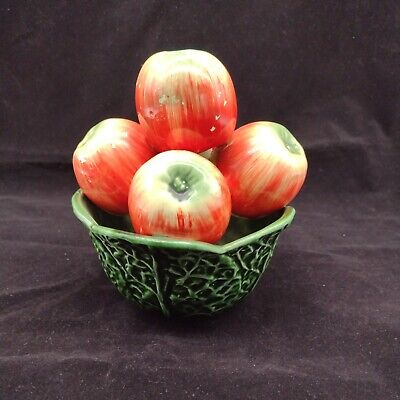 £22.95 • Buy Vintage Majolica Green Cabbage Leaf Fruit Bowl Filled With Pottery Apples