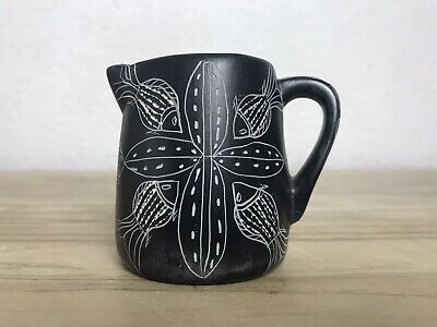 £20 • Buy Unusual Art Studio Pottery Jug Hand Made Etched Fish Design Tribal Black Pottery