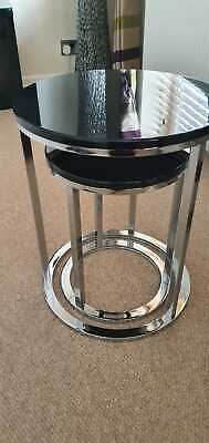 Set Of 2 Nest Of Tables Glass Top Metal Legs RRP £79 • 25£