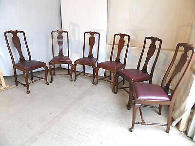 £295 • Buy 6,queen Anne,red,leather,mahogany,chairs,dining Chairs,cabriole Legs,pad Feet