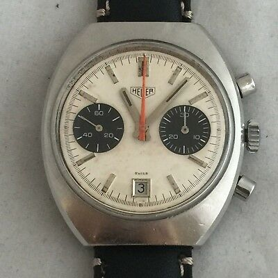 $ CDN1814.93 • Buy Vintage Heuer Chronograph Manual Wind Movement Val 7734 40 Mm Panda Dial