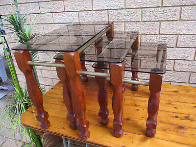 AU5 • Buy Attractive Nest Of Tables. Tinted Glass Tops.  All In Top Condition