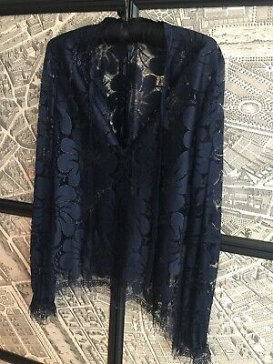 AU49.99 • Buy Scanlan Theodore French Navy Lace Top. Size 12.