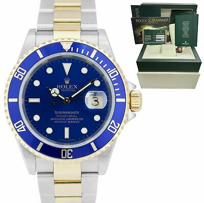 $ CDN14507.62 • Buy 2007 Rolex Submariner 16613 Two-Tone Steel Gold Buckle Blue 40mm NO-HOLES Watch