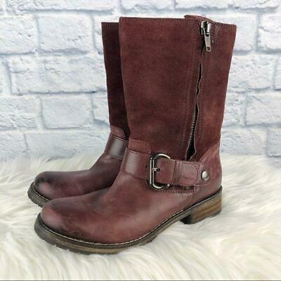 CLARKS Women's Majorca Isle Suede Leather Red Mid Calf Moto Boots Size 6.5 EUC • 43.66£