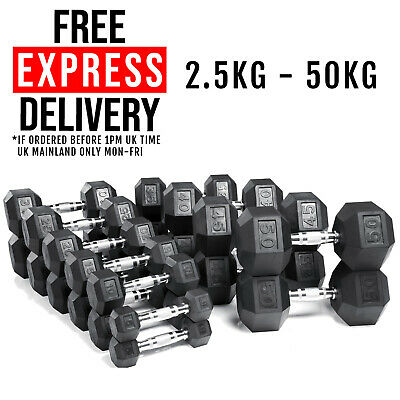 AU125.90 • Buy Hex Dumbbells Rubber Encased Weight Set Fitness Strength Training Bicep Home Gym