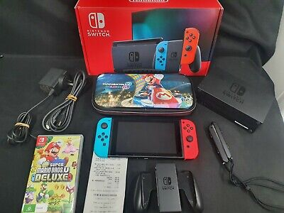AU255 • Buy Near New Nintendo Switch Console Neon + 1 Game And Carry Case - Bids From $1