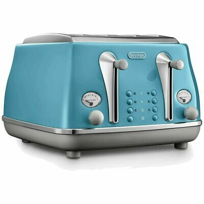 AU189 • Buy Delonghi Icona Capitals 4 Slice Bread Toaster Azure NEW Electric Pop Up Toaster