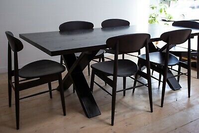 AU1392 • Buy Black Solid American Ash Dining Table With Steel Legs - 2200x1000mm - 6-8 Seater