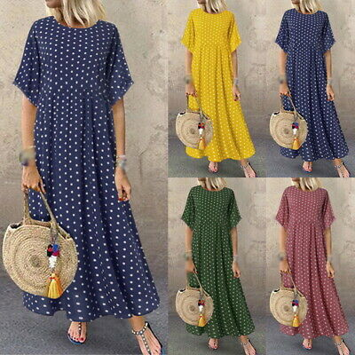 Women Retro Summer Polka Dot Print Long Maxi Beach Holiday Casual Loose Dress • 10.73£