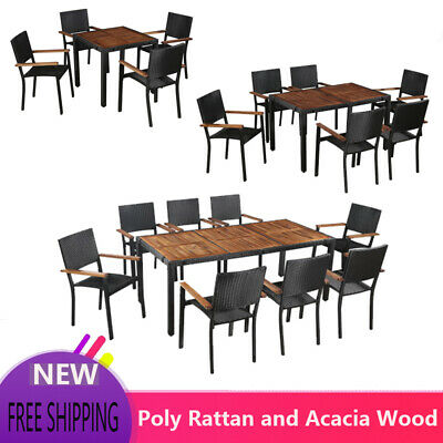 Poly Rattan Garden Outdoor DiningTable Set With 4/6/8 Chairs Seat Furniture • 747.49£