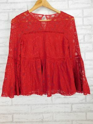 AU17.50 • Buy Forever New Long Sleeve Top Red Lace Sz XS, 8