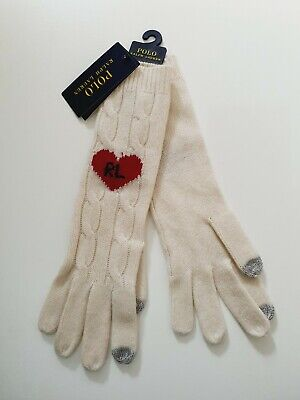 £34.99 • Buy Polo Ralph Lauren Ladies Cable Knit Cream Love Heart Long Gloves Wool Cashmere