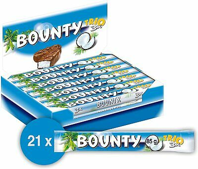 Bounty Chocolate Trio Bars Coconut Covered Milk Bars 21x85g BB 14.02.2021 • 12.99£
