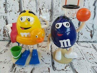 M&M's Sweet Candy Dispenser Yellow Beach & Blue Basketball Vintage Collectable • 9.99£