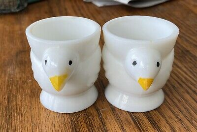 $18 • Buy Two Vintage Opalex France White Milk Glass Chicken Chick Egg Cups