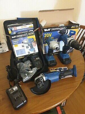 Wolf Hammer Drill + Impact Driver + Grinder Kit NEW • 215£