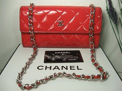 AU652.44 • Buy Authentic Chanel Red Patent Leather CC Logo Long Flap Crossbody Clutch Bag