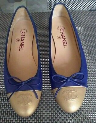 £282.49 • Buy Authentic Chanel Ballerina Flats Shoes Cc Logo Gold/blue Leather Rare  Size 37