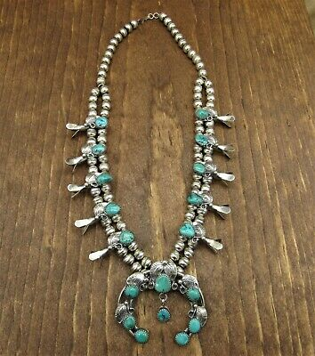 $ CDN951.53 • Buy Stunning Sterling Silver Turquoise Squash Blossom Necklace