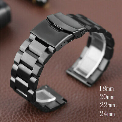 18 20 22 24mm Stainless Steel Metal Bracelet Double Lock Clasp Watch Band Strap • 12.69£