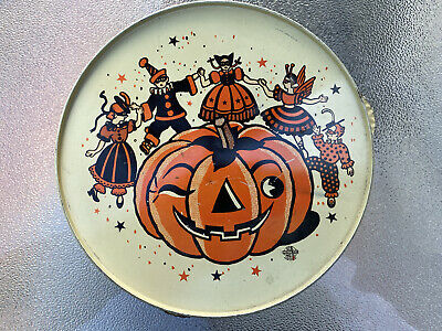 $ CDN38 • Buy Vintage US Metal Toy Halloween Tin Tambourine Noisemaker Jack O Lantern Witches
