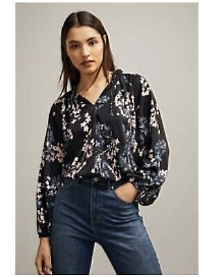 AU20.50 • Buy Witchery Size 16 Floral Shirt Navy With Pink And Blue Flowers