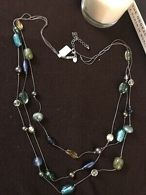 "$ CDN6.98 • Buy NWOT Lia Sophia Necklace SEA GLASS 28"" Hematite Long Blue Green Faceted Beads"