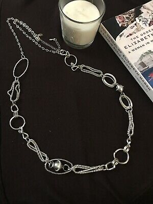 $ CDN3.79 • Buy NWOT Lia Sophia TOPSY TURVY Necklace Silver Tone Texture Links Long Extender