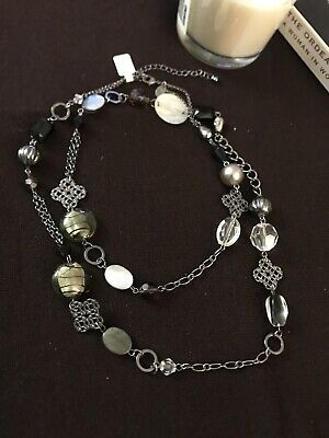$ CDN6.03 • Buy NWOT Lia Sophia Long Necklace Hematite Gray GLASS Beads MOTHER OF PEARL Links