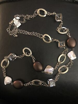 $ CDN3.79 • Buy NWT Lia Sophia Square Glass & Brown Beads Shell Long Necklace Gold Tone