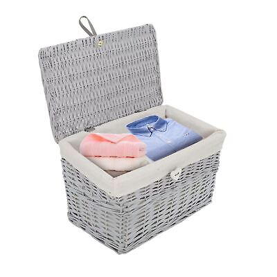 Grey Painted Lid Wicker Storage Collection Christmas Gift Hamper Wicker Basket • 17.99£