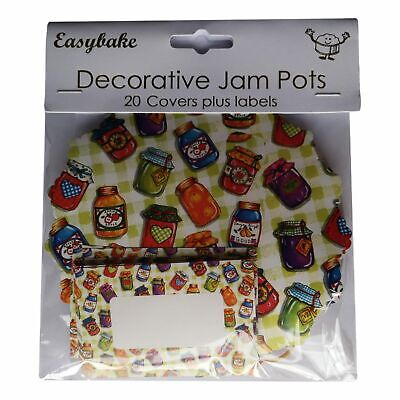 20 Preserve Jars Jam Pot Covers, Wax Discs, Rubber Bands And Self-Adhesive Label • 3.99£