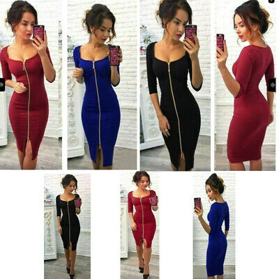Uk Women's Zipper Dress Ladies Sexy V Neck Bodycon  Party Cocktail Evening Prom • 9.99£